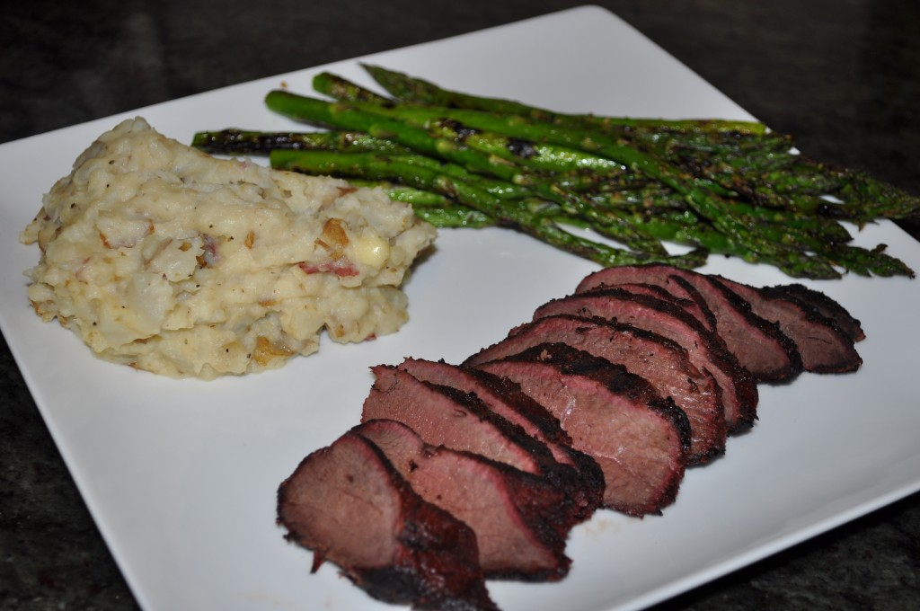 Wild Goose Breast, Mashed Potatoes with Sun Chokes, & Asparagus