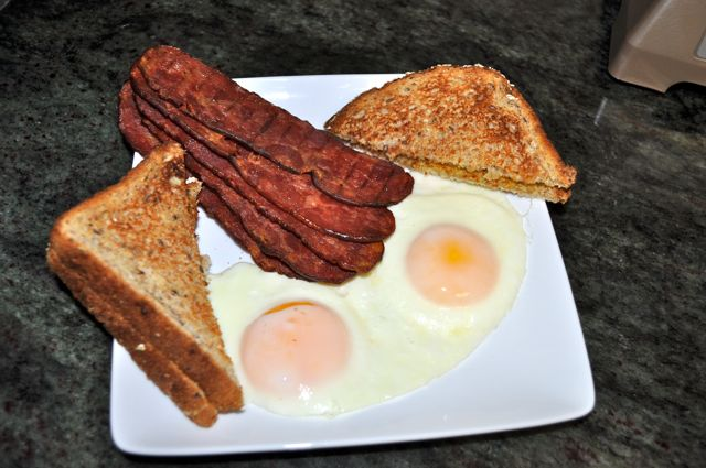 Smoked Turkey Bacon, Eggs, and Toast
