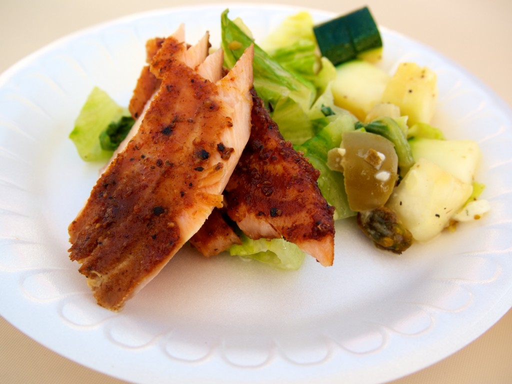 Smoked Salmon over Smoked Romaine Salad