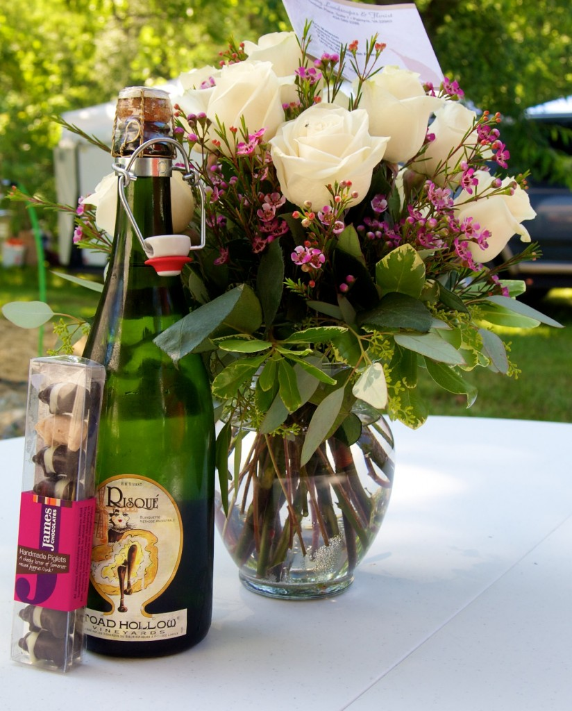 Celebrating our anniversary at Palmyra with flowers and our generous gift  of chocolates and champaign from Bellwood BBQ.