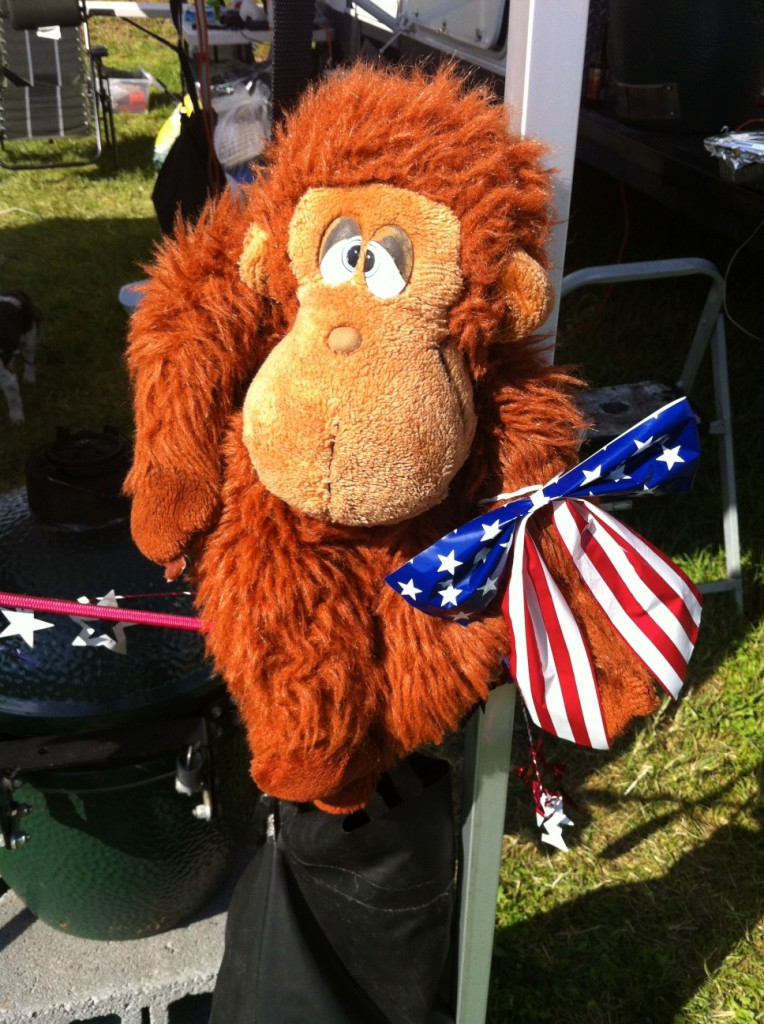 Our good luck mascot 'Hogan' oversees every cook.  Here he is supporting flag day at Swinetastic