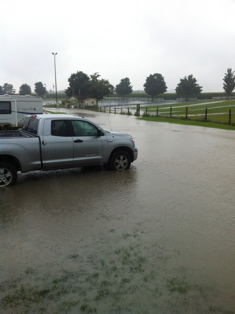 Our nice grassy spot instantly became waterfront property.  Taken from the porch of our trailer.